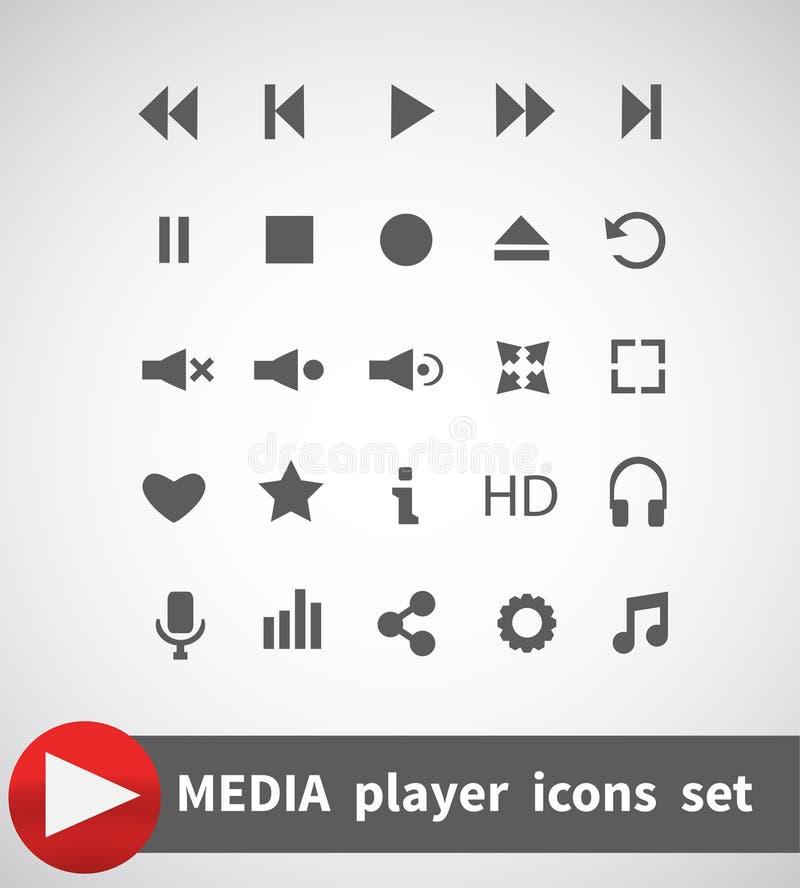 Media geplaatste spelerpictogrammen multimedia Geïsoleerde Vector illustratie stock illustratie