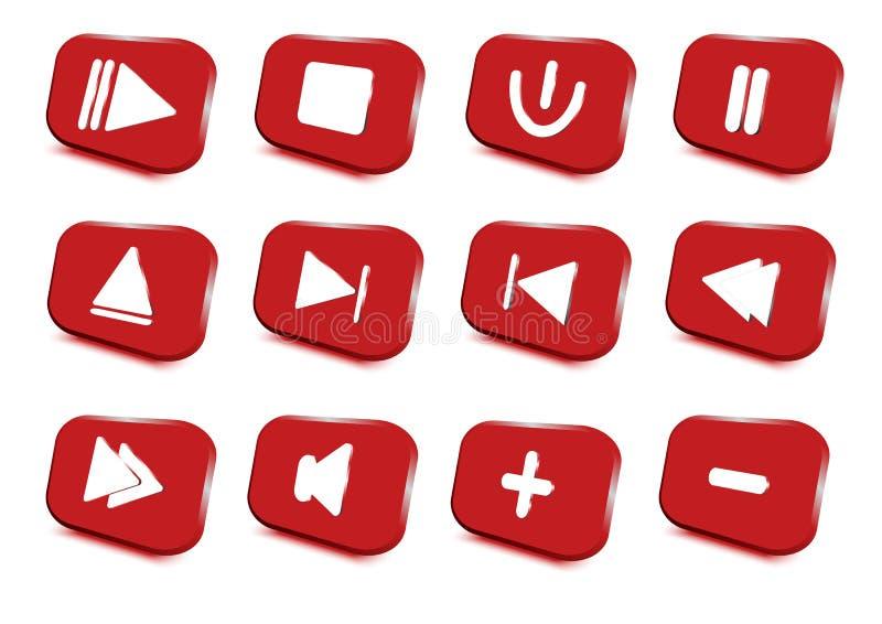 Media geplaatste spelerpictogrammen multimedia Vector illustratie stock illustratie
