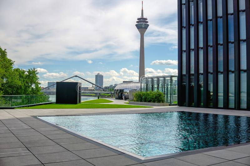 Media Harbor of Dusseldorf. Media Harbor with Rhine-Tower and Modern architecture cityscapes of Dusseldorf, Germany royalty free stock photo