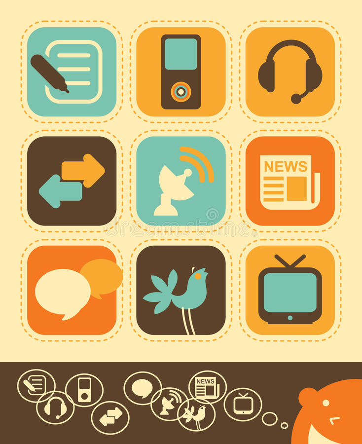 Media Icon Set. Vector illustration - Internet network and Media icons in vintage style royalty free illustration