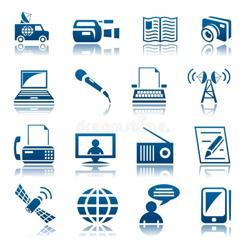 Media icon set. Set of blue media icons