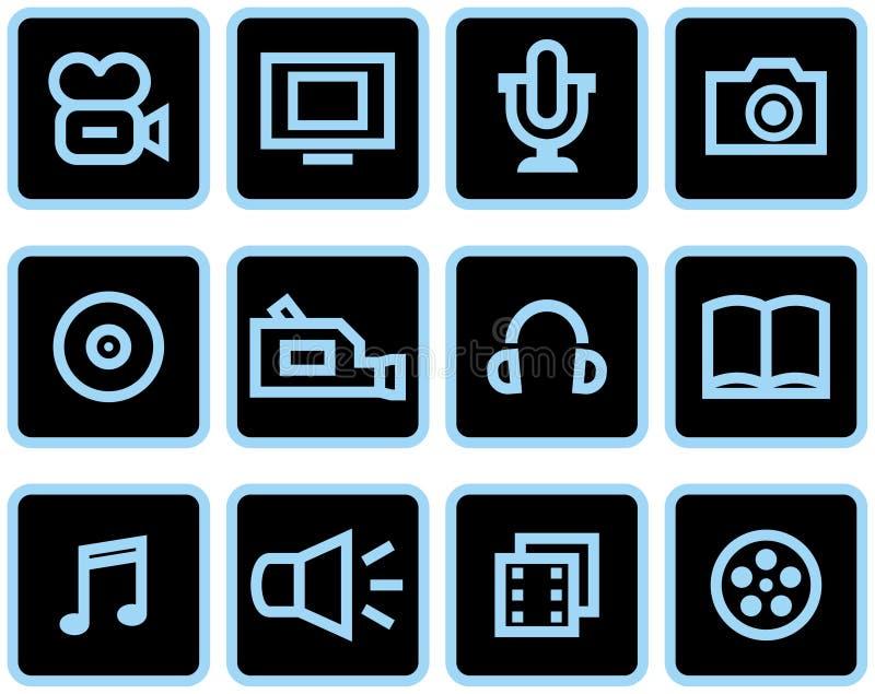Media - iconos del vector fijados foto de archivo libre de regalías
