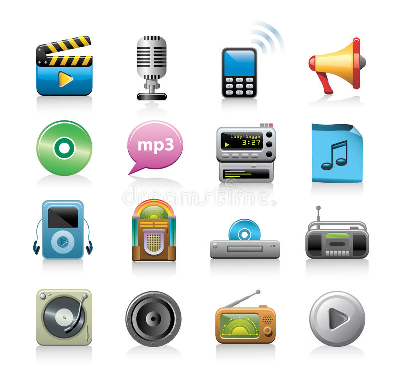 Media Icons. An illustrated set of various icons related to media / entertainment royalty free illustration