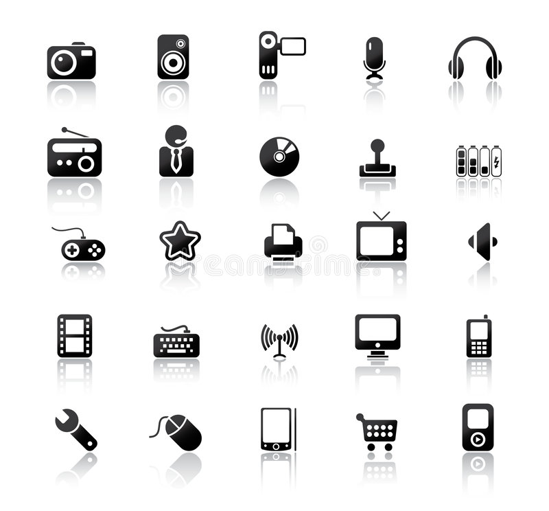 Media Icons. Vector illustration of web and media icons