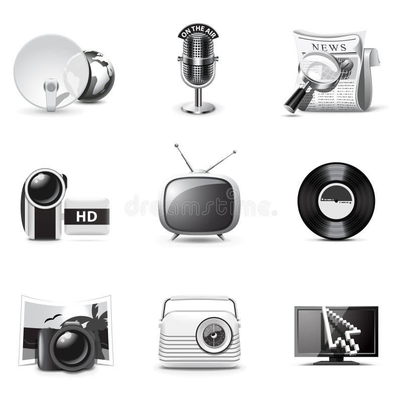 Free Media Icons | B&W Series Royalty Free Stock Image - 17936536