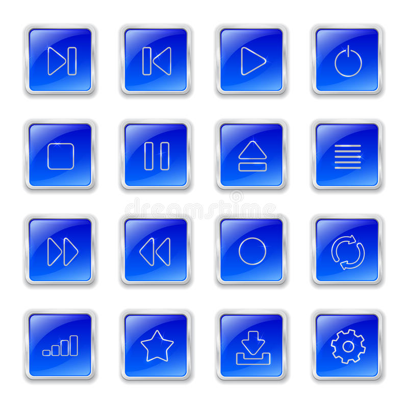 Download Media Icons On Blue Buttons Stock Vector - Image: 34616829
