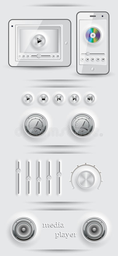 Download Media icons and buttons stock vector. Image of load, gadget - 26016812
