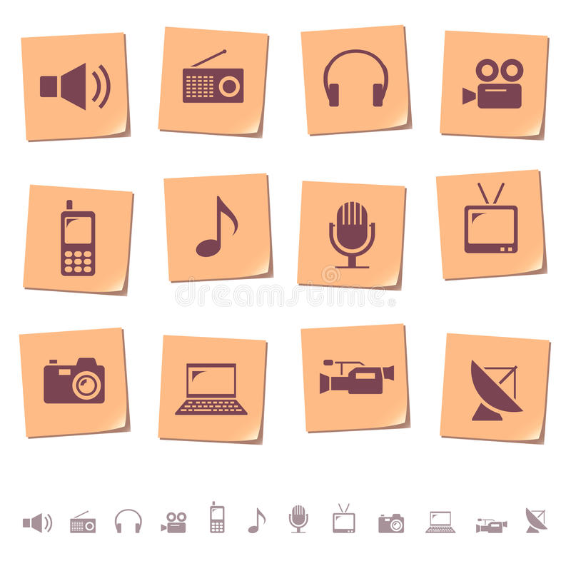 Media icons on memo notes royalty free illustration