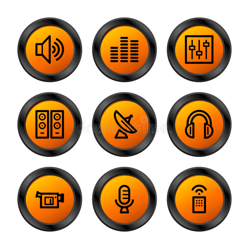 Download Media icons, orange series stock vector. Image of orange - 5422724