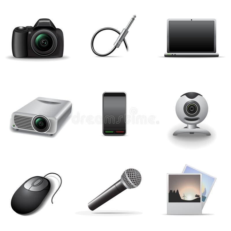Media icons set 2. Set of 9 media and electronics icons vector illustration