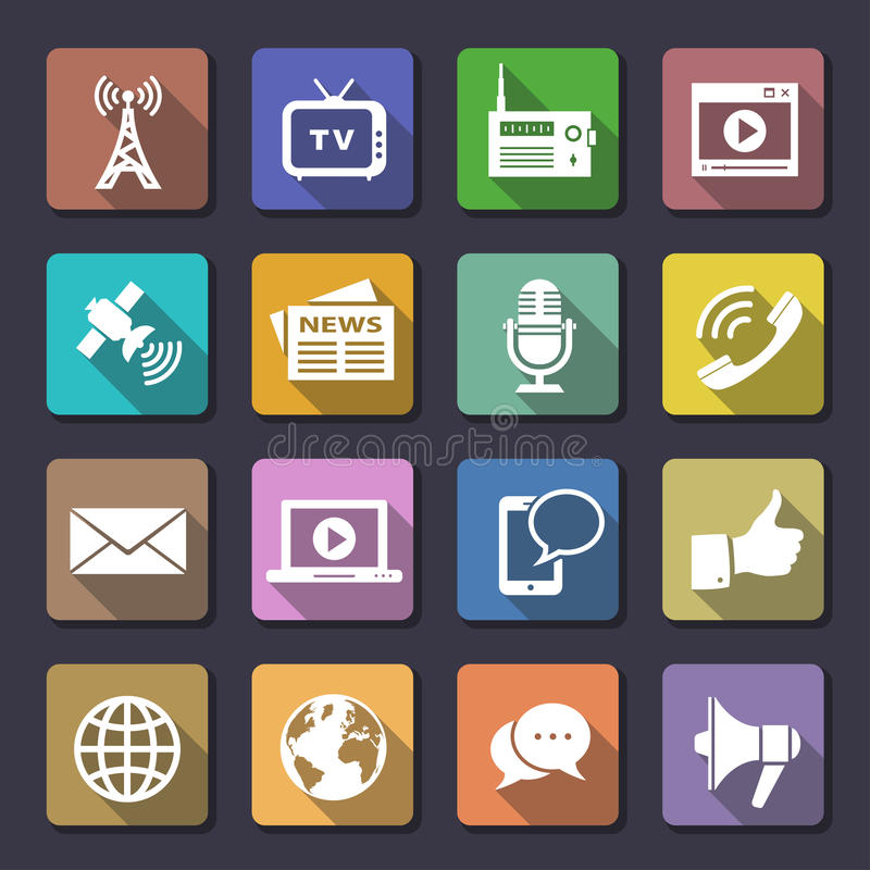 Download Media icons set stock vector. Image of element, chat - 33570503