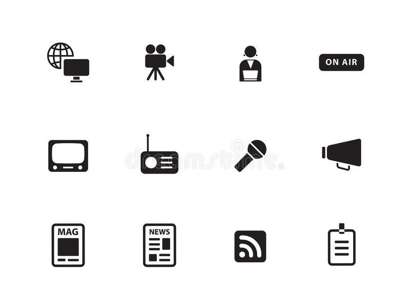 Download Media Icons On White Background. Stock Vector - Image: 33445441