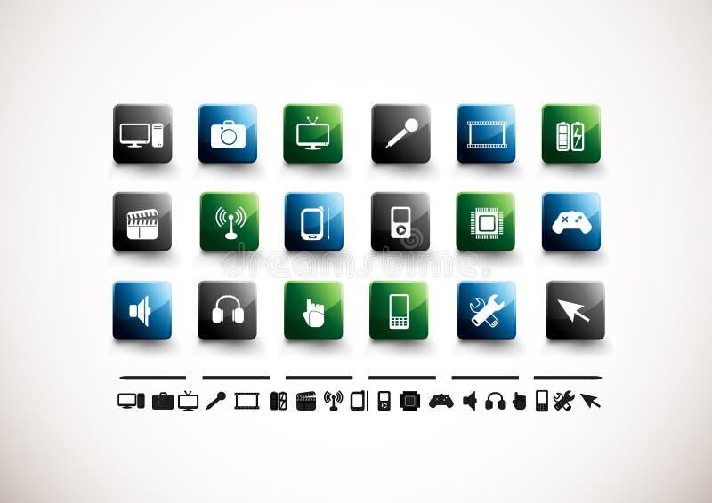 Media-Ikonen-Set | Hoher Glanz stock abbildung