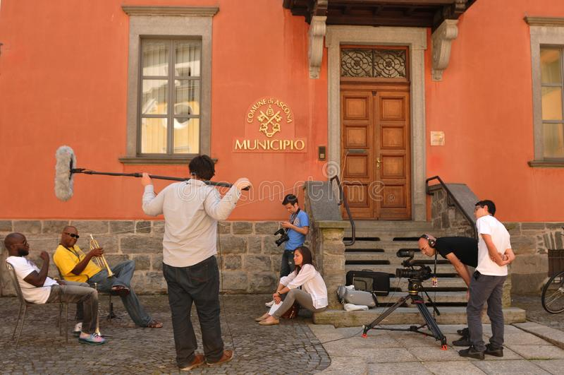 Media-impact van Ascona Jazz Festival naast Locarno-Stad, stock fotografie