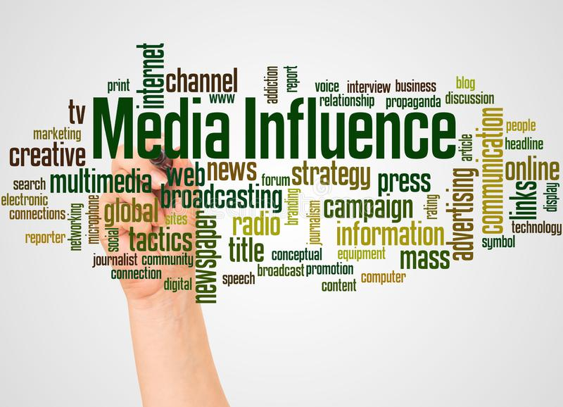 Media Influence word cloud and hand with marker concept. On white background stock illustration