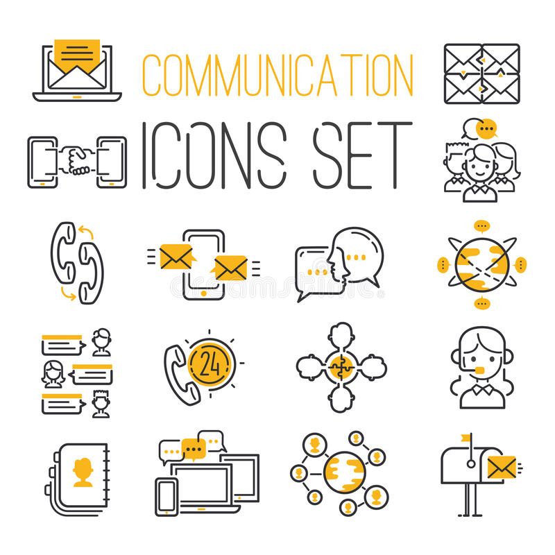 Media internet web network contact communication symbols outline icons vector illustration. Media internet web outline computer network contact symbols and stock illustration