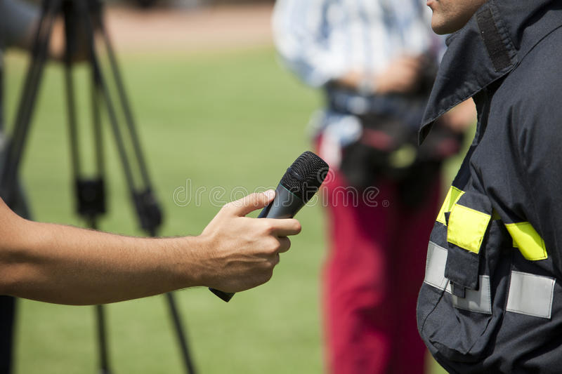 Media interview royalty free stock photos