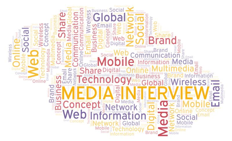 Media Interview word cloud. Word cloud made with text only vector illustration