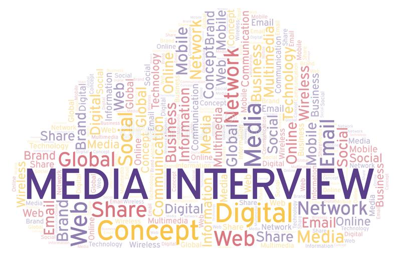 Media Interview word cloud. Word cloud made with text only stock illustration