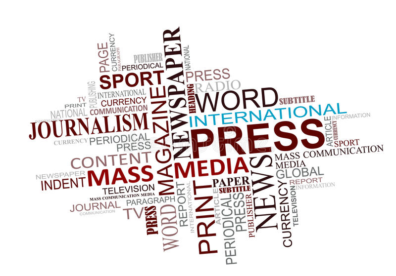 Media and journalism tags cloud royalty free stock photo