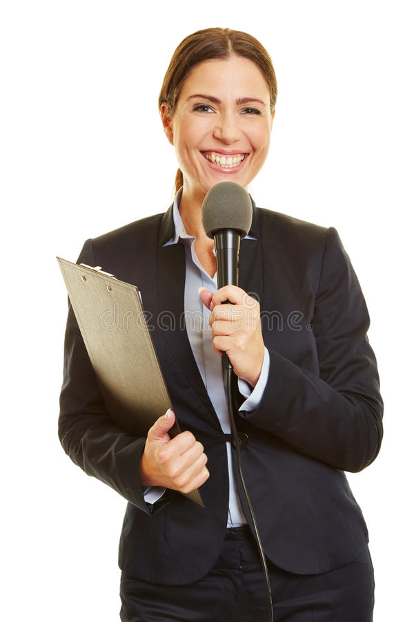 Media journalist with microphone stock images