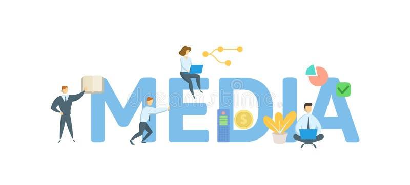 media Konzept mit Schl?sselw?rtern, Buchstaben und Ikonen Flache Vektorillustration Getrennt auf wei?em Hintergrund vektor abbildung