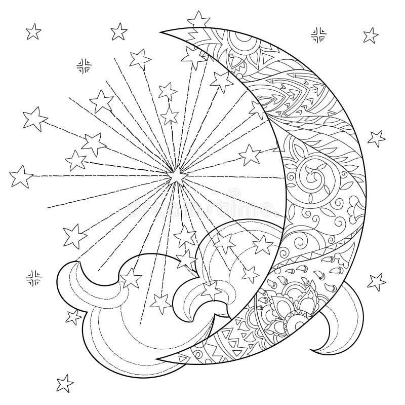 Media Luna De La Navidad Con Las Estrellas Ilustración del Vector ...