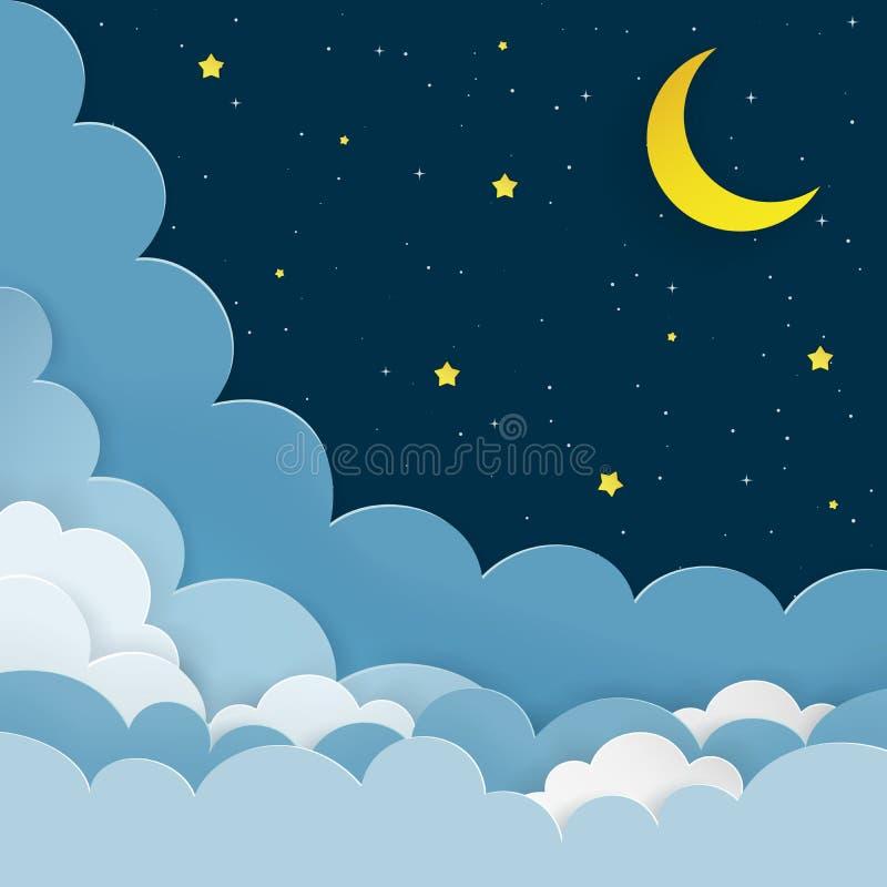 Media luna, estrellas, nubes en el fondo estrellado del cielo de la noche oscura Fondo de la galaxia con la luna y las estrellas  libre illustration
