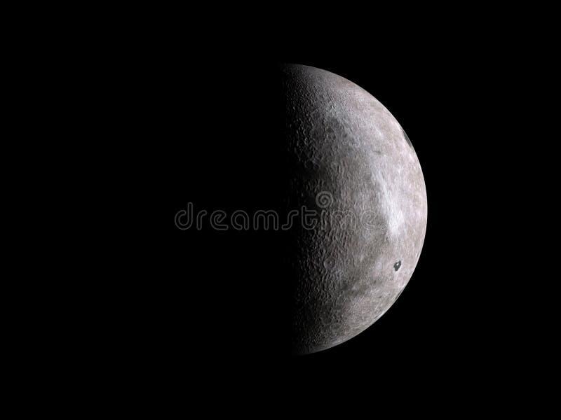 Media luna lunar en negro fotografía de archivo