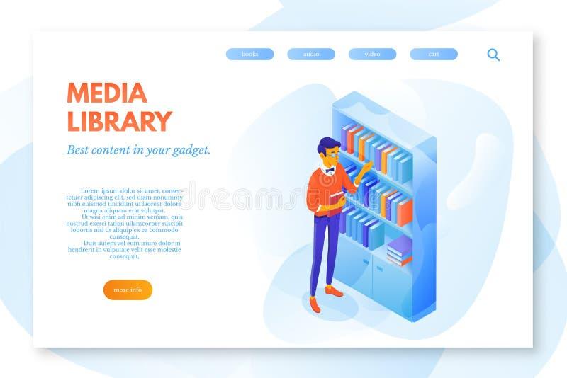 Media malplaatje van het bibliotheek het vectorlandingspagina royalty-vrije illustratie