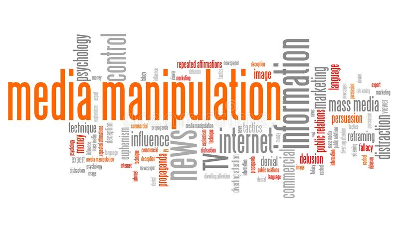 Media manipulation. Issues and concepts word cloud illustration. Word collage concept stock illustration