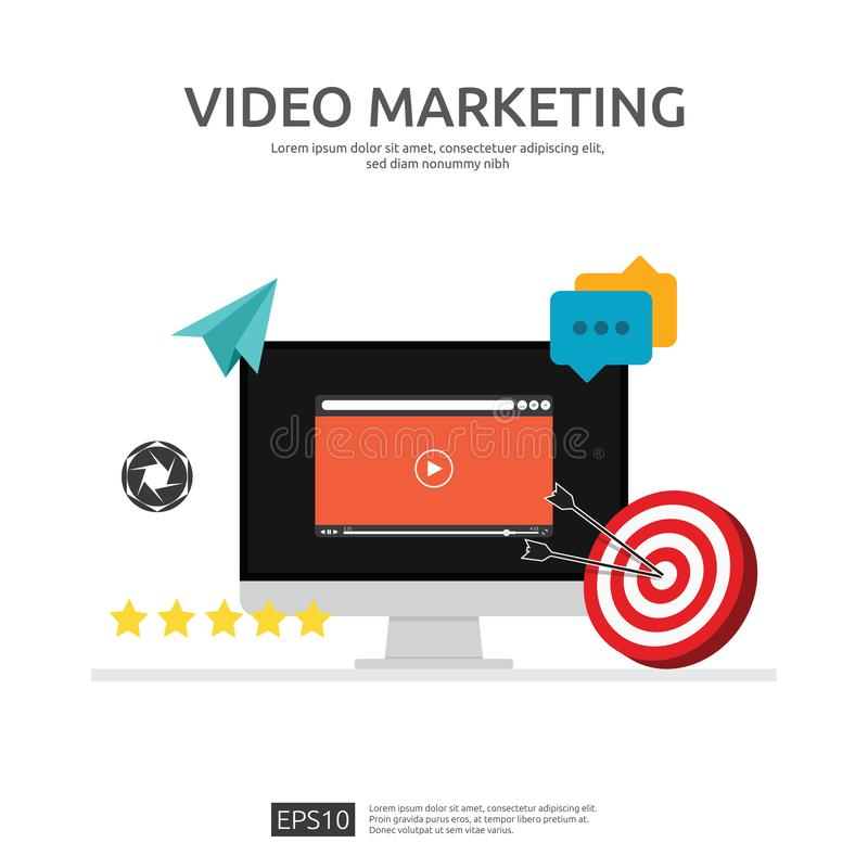 Media marketing concept. Making money from video with social network. Digital advertising promotion strategy. online vlog content. Flat vector banner stock illustration
