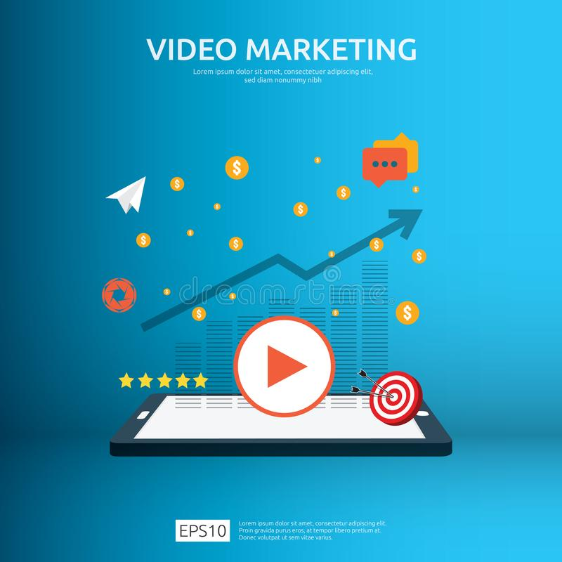 Media marketing concept. Making money from video with social network. Digital advertising promotion strategy. online vlog content. Flat vector banner royalty free illustration