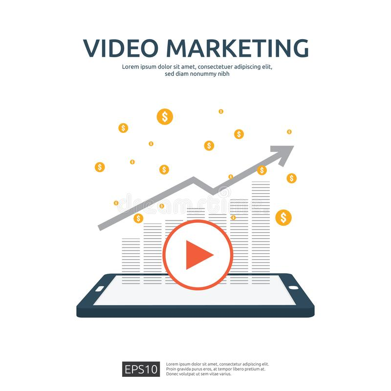 Media marketing concept. Making money from video with social network. Digital advertising promotion strategy. online vlog content. Flat vector banner vector illustration