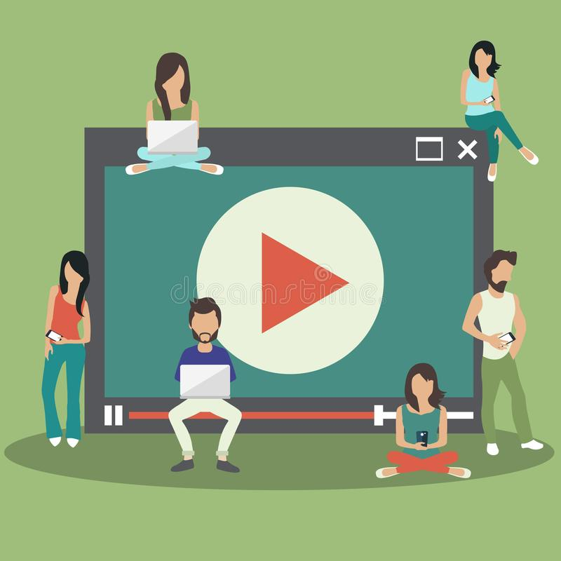 Media marketing concept. People sitting on big media player and holding lap tops. Flat illustration vector illustration