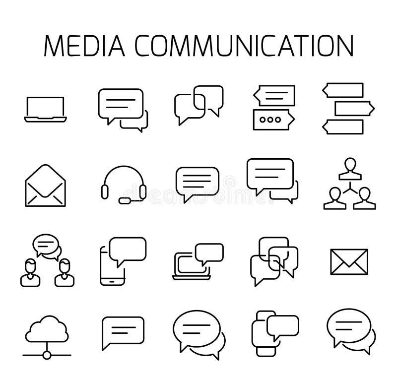 Media mededeling bracht vectorpictogramreeks met elkaar in verband vector illustratie