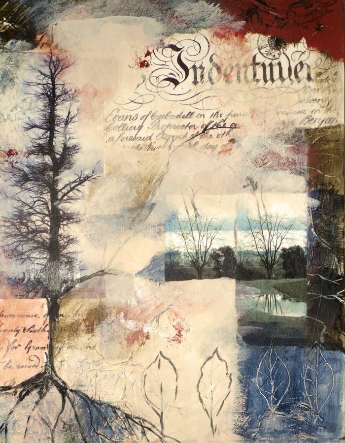 Media mezclados que pintan con las fotografías collaged stock de ilustración