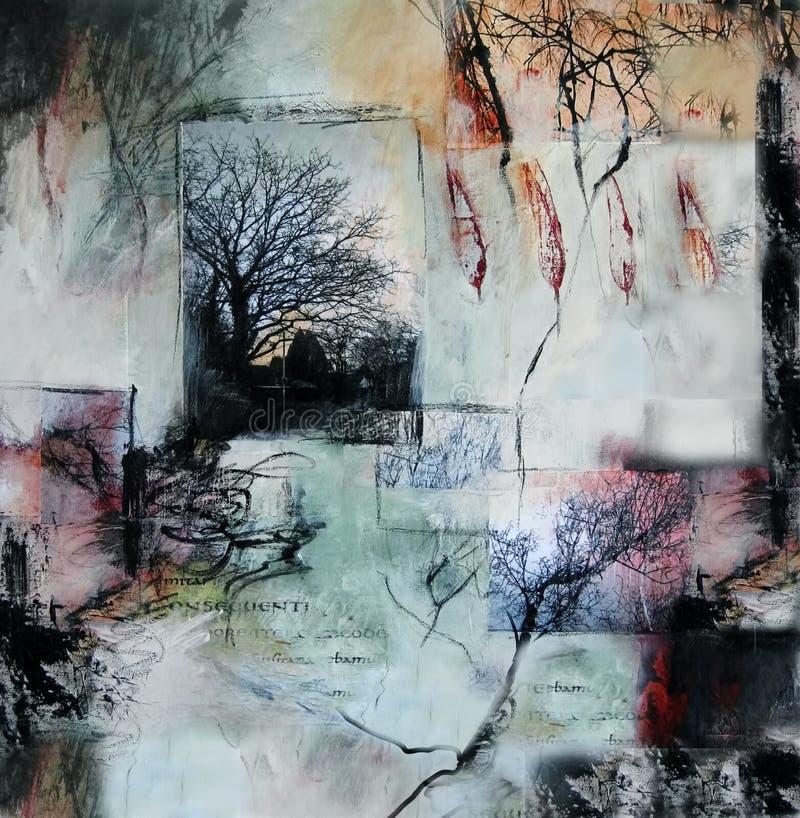 Media mezclados que pintan con los árboles y las hojas ilustración del vector