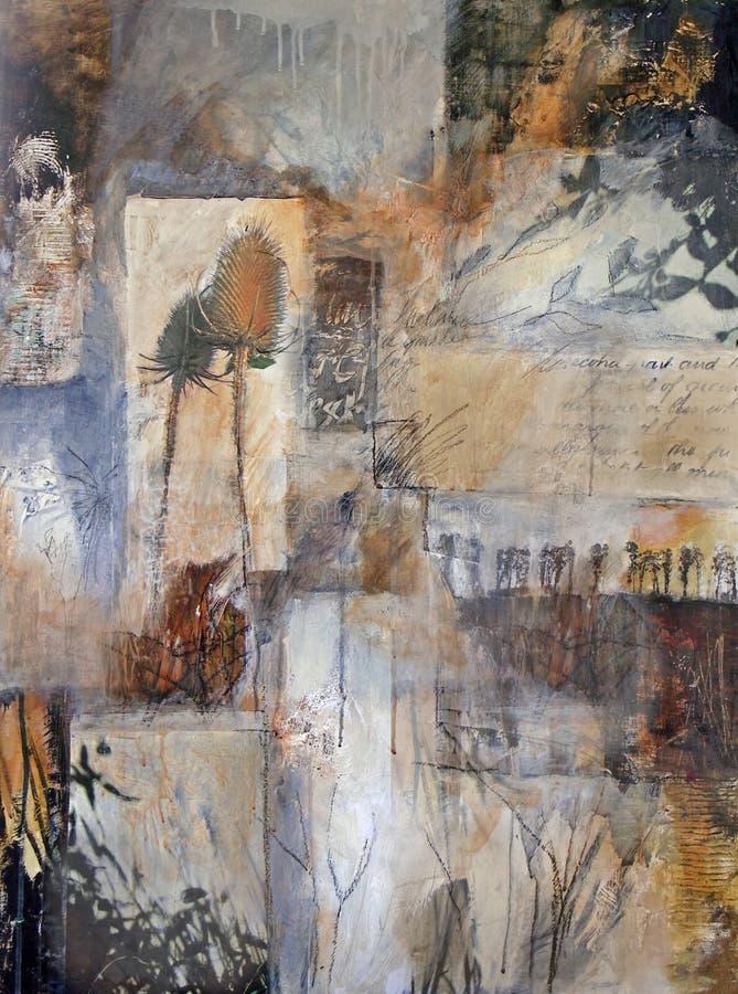 Media mezclados que pintan con los detalles de la naturaleza