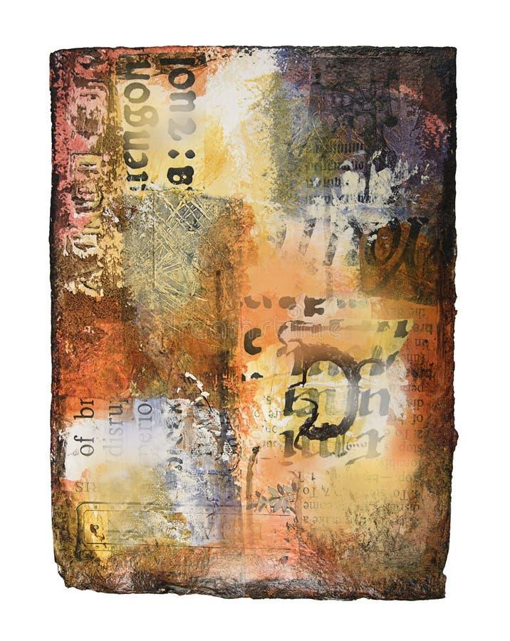 Media mezclados que pintan en el papel hecho a mano fotos de archivo