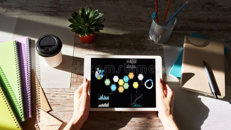 Media misti Icone colorate di applicazione gestionale sullo schermo del dispositivo Strategia di marketing immagini stock