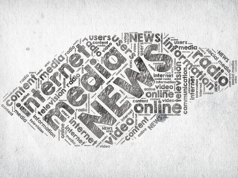 Media News. News and media related words written with ink on paper royalty free illustration