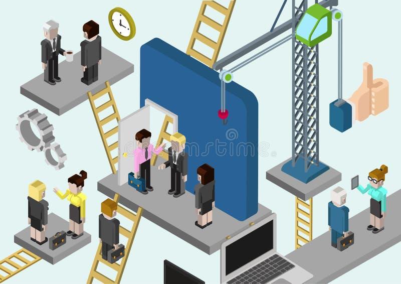 Media online di affari 3d della società isometrica piana della costruzione illustrazione di stock