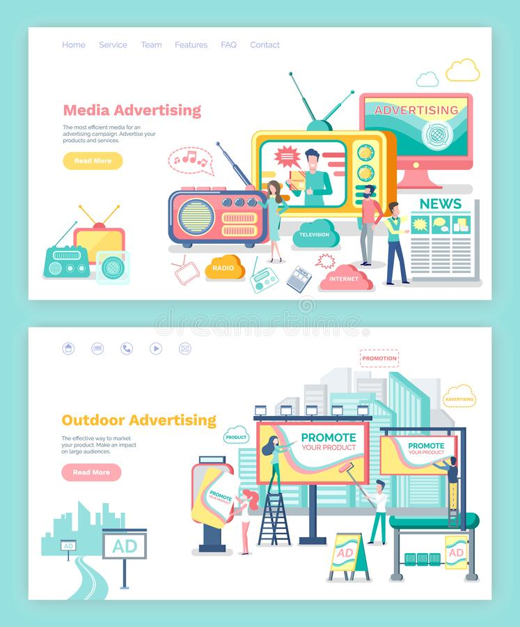 Media and Outdoor Advertising Web Page or Site. Outdoor and media advertising webpage or web site template vector. TV set and monitors, roadside or city banners vector illustration