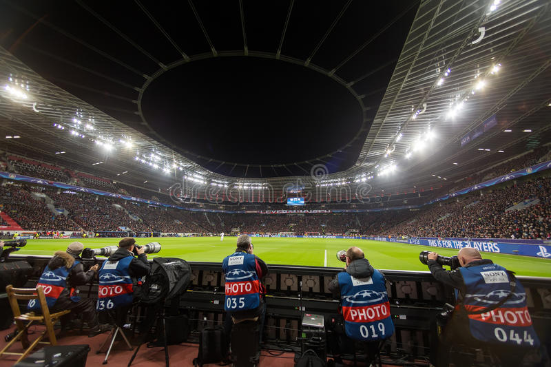 Media and Photographers during the UEFA Champions League game. Leverkusen, Germany- December 9, 2015: Media and Photographers during the UEFA Champions League royalty free stock images