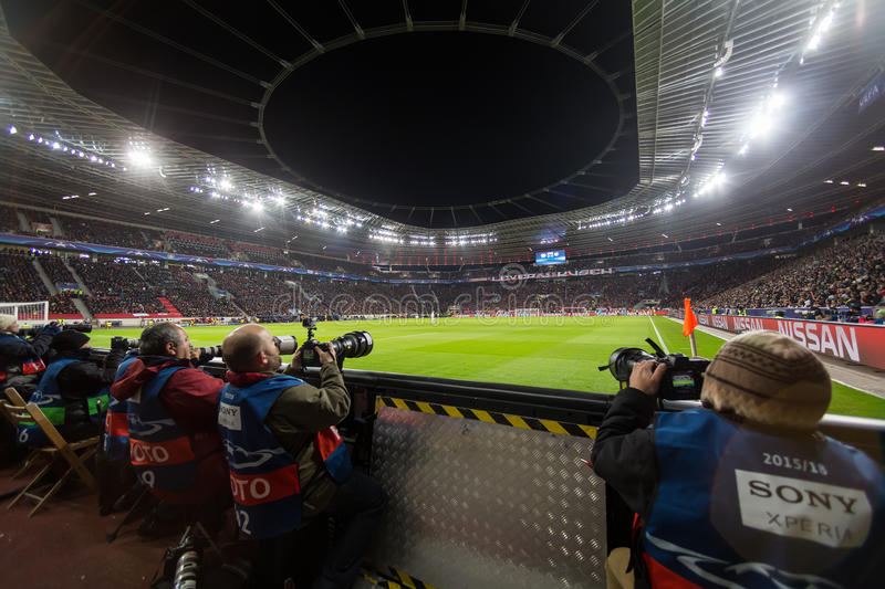 Media and Photographers during the UEFA Champions League game. Leverkusen, Germany- December 9, 2015: Media and Photographers during the UEFA Champions League royalty free stock photos