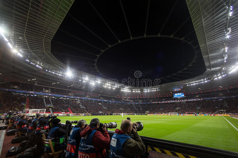 Media and Photographers during the UEFA Champions League game. Leverkusen, Germany- December 9, 2015: Media and Photographers during the UEFA Champions League royalty free stock image