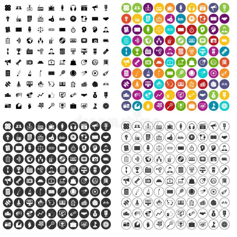 100 media pictogrammen geplaatst vectorvariant royalty-vrije illustratie