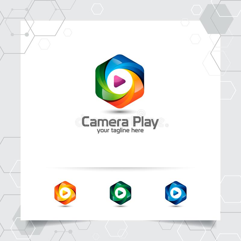 Media play logo design vector with concept of colorful play music icon for studio, application, and multimedia royalty free illustration