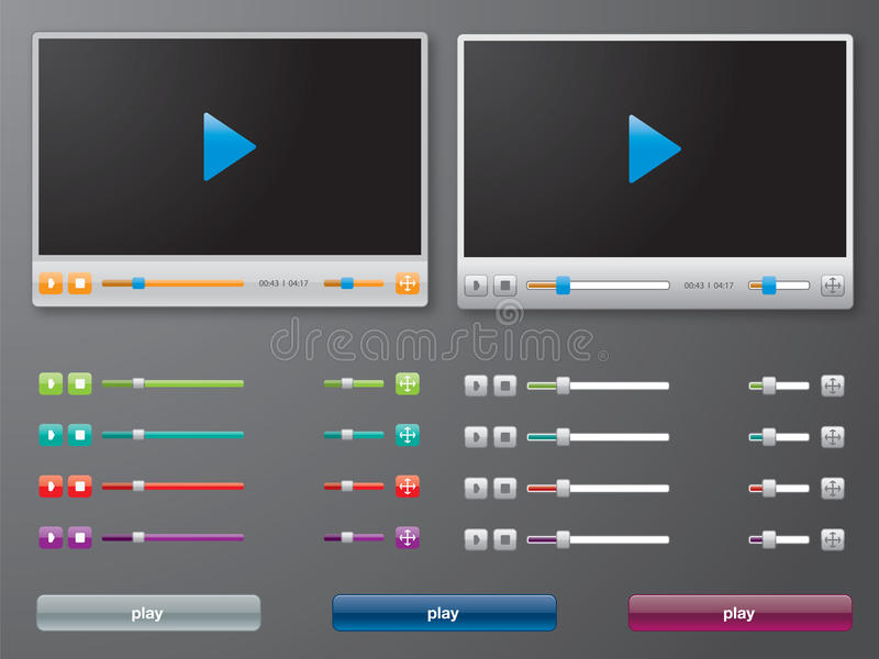 Media player in. And buttons stock illustration